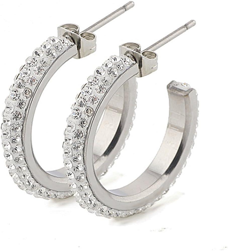 Pendientes de aro, hechos de acero inoxidable con cristales Swarovski, incluyen caja de regalo