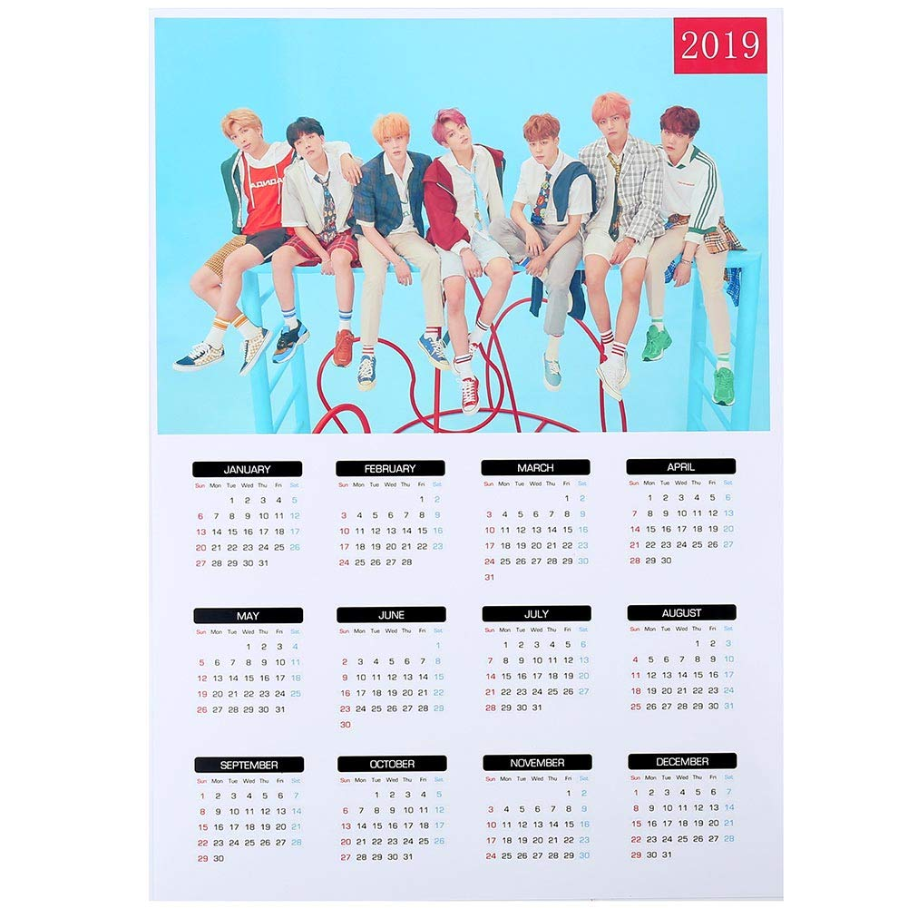 Teblacker BTS 2019 Wall Calendar, Kpop Bangtan Boys from 2019 to 2020  Yearly Wall Calendar Poster for The Army(42x30mm Style 03)