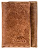 Men's Wallets Tri-fold RFID Blocking Extra Capacity Flip Out Genuine Leather 2 ID COWFEX (Coffee) (Coffee)