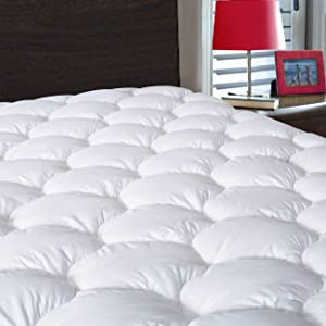 DROVAN Waterproof Mattress Pad Cover King Size - Breathable Soft Fluffy - Pillow Top Cotton Top Down Alternative Filling Cooling Mattress Topper, 78 by 80 inches