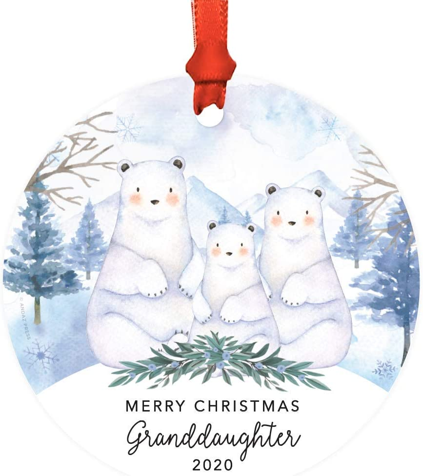 Andaz Press Custom Year Family Round Metal Christmas Keepsake Ornament, Merry Christmas Granddaughter, 2020, Watercolor Winter Polar Bears on Snow, 1-Pack, Includes Ribbon and Gift Bag