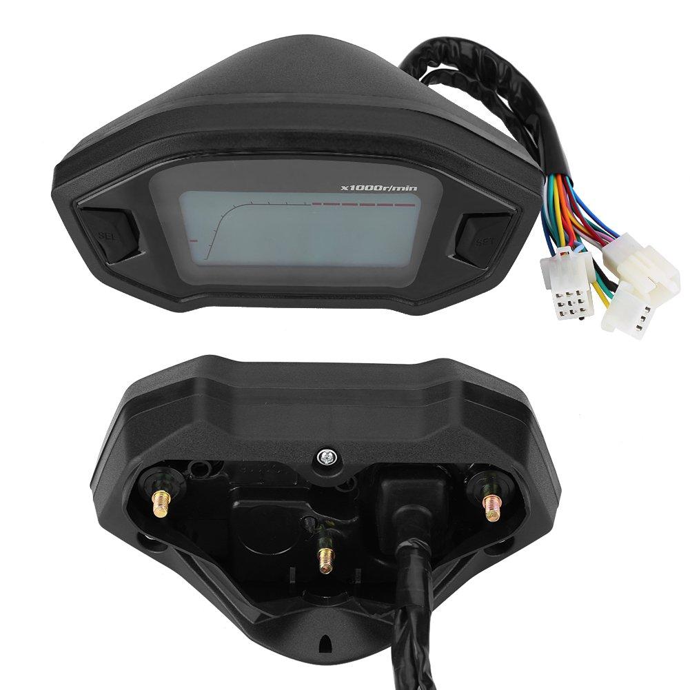Keenso Universal DC 12V Motocicleta Digital Colorido LCD Veloc/ímetro Od/ómetro Tac/ómetro W//Sensor de velocidad