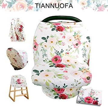 Retro Flower Stretchy Baby Carseat Cover with 4-in-1 Multi-use for Baby Carseat /& Nursing//Breastfeeding Infinity Scarf /& Stroller /& Feeding high Chair Versatile Cover for Baby Girls by TIANNUOFA