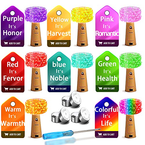Wine Bottle Lights with Cork, Bottle Lights 8 Pack 20 led Pink Purple Red Yellow Blue Warm Green Multicolor 24 Pre-Installed+6 Replace Battery Operated Fairy Lights for DIY Wedding Party