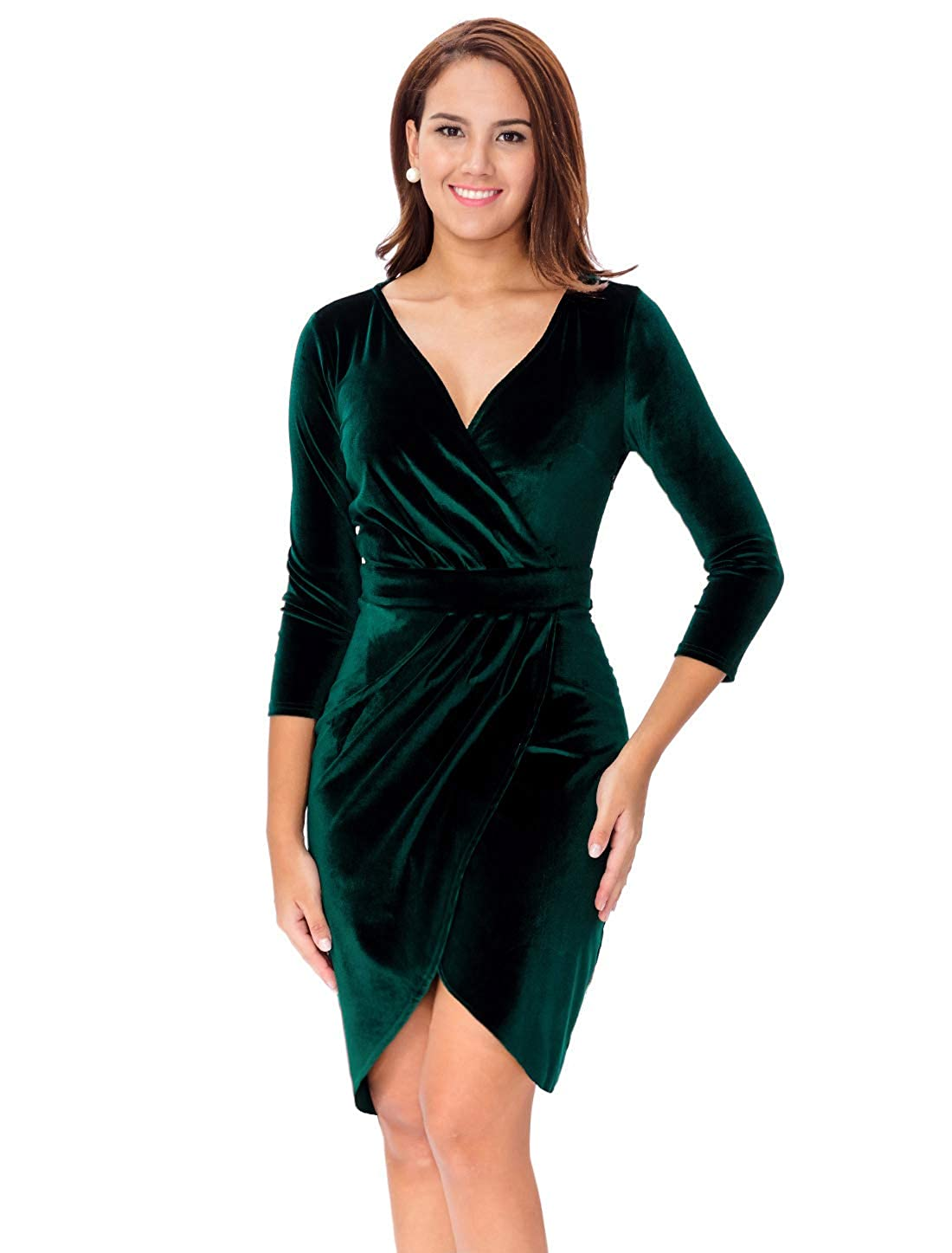 c6b16f5944 InsNova Women's Long Sleeve Velvet Bodycon Wrap Dress for Wedding Guest