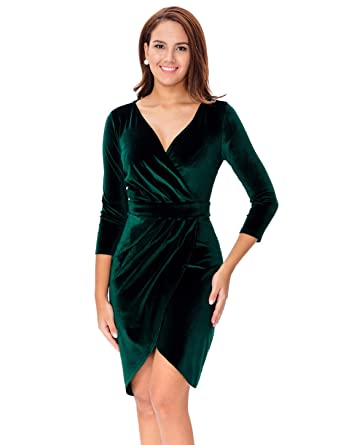 ef5c33ef85 InsNova Women s Sexy V-Neck Green Velvet Bodycon Wrap Cocktail Dress for  Wedding Guest