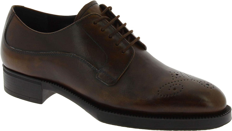 Prada Vitello Deco Zapatos Oxford con Cordones para Mujeres en Piel de Becerro marrón - Número de Modelo: 1E164G 3F33 F0562