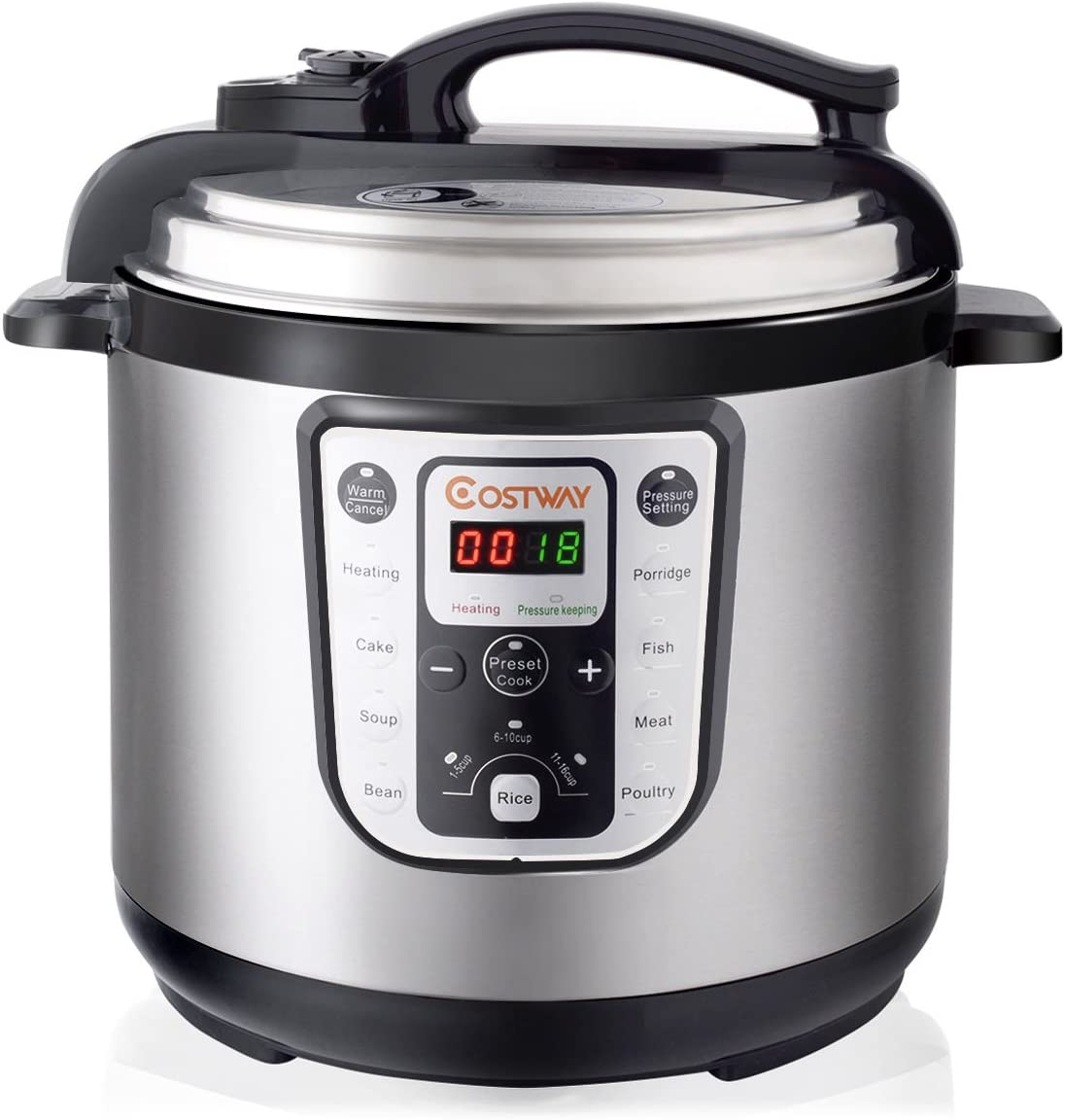 1250W 8 Quart Electric Pressure Cooker Programmable Multi-Use Stainless Steel
