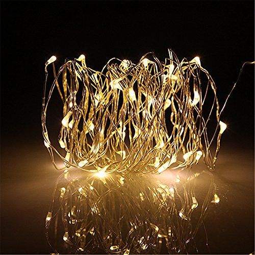 BUYERTIME 5M/16.4Ft 50 LEDs Cadena de Luces Impermeable Flexible de Alambre de Plata con Caja de Bateria AA(Bateria No Incluye) para Iluminacion DIY, Navidad, Fiesta, Decoracion - Blanco Calido