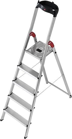 Hailo L60 - Escalera doméstica de aluminio, bandeja multifuncional, gancho para cubo y pinza para cable (5 peldaños): Amazon.es: Bricolaje y herramientas