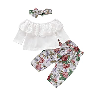 ICECTR 3Pcs Toddler Baby Girls Clothes Long Sleeve Ruffled Romper Tops Floral Long Pants Headband Casual Outfits
