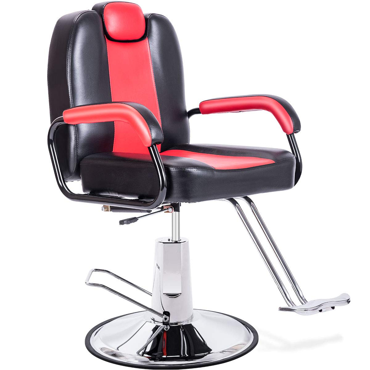 Merax Hydraulic Reclining Barber Chair, Up to 20% Extra Larger Seat + Heavy Duty Hydraulic Pump, 2019 Upgraded Salon Beauty Spa Chair (Black/Red)