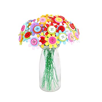 TOYMYTOY Botón artificial Ramo de flores Rompecabezas Niños DIY Artesanías hechas a mano Juguetes educativos Decoración del partido en casa (Flor Galsang): ...
