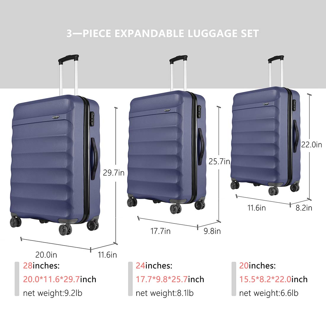 20in 24in 28in GinzaTravel Anti-scratch ABS Material Luggage 3 Piece Sets Lightweight Spinner Grey color Suitcase