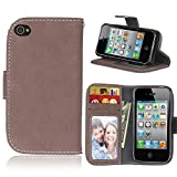 CNBEAU iPhone 4S 4 Wallet Case Flip Folio Protective Case Retro Style Solid - Best Reviews Guide