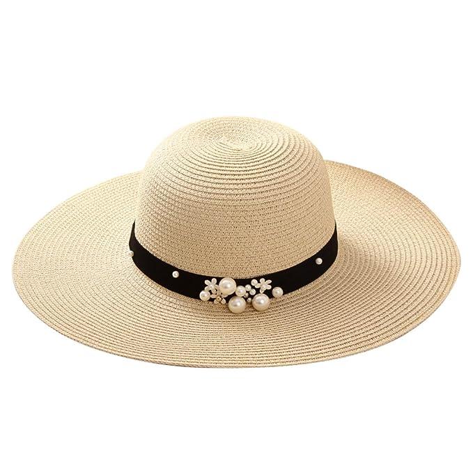Gespout Cappello di Paglia Donna Eleganti Protezione UV Cappello da Sole Tesa  Larga Topper Berretto da 7979783f5e12