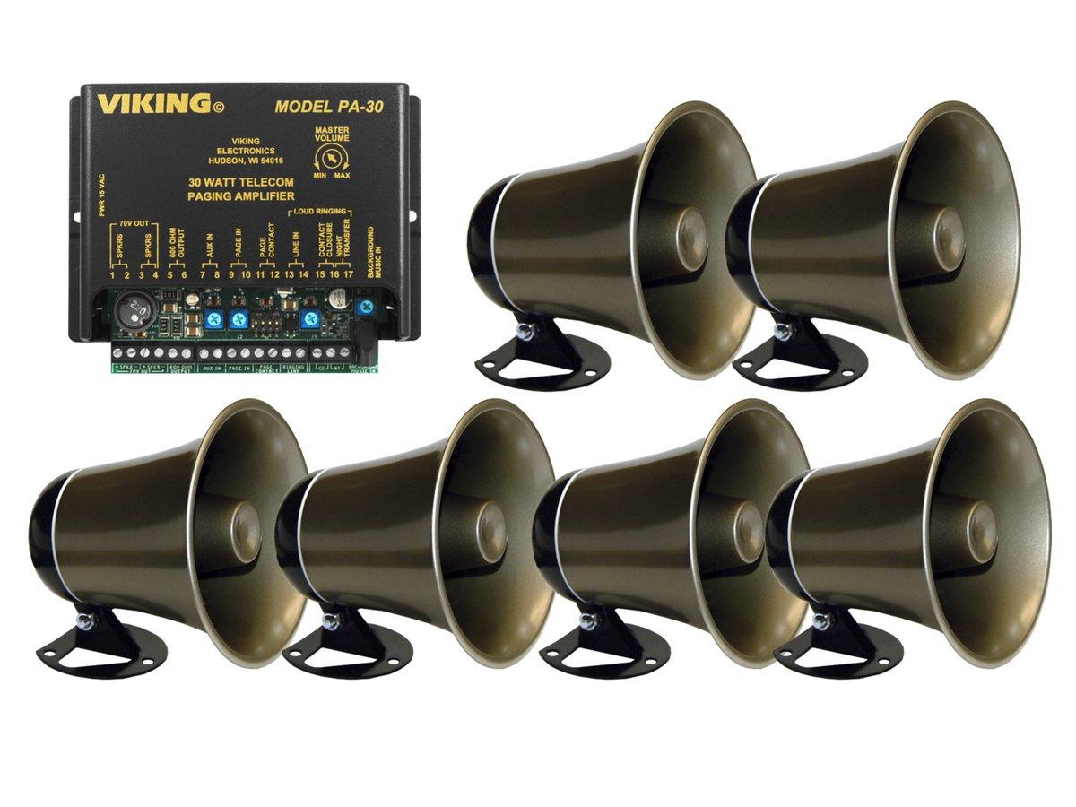 Viking 30 Watt Paging Amplifier with Loud Ringing and 6 Powered Speaker