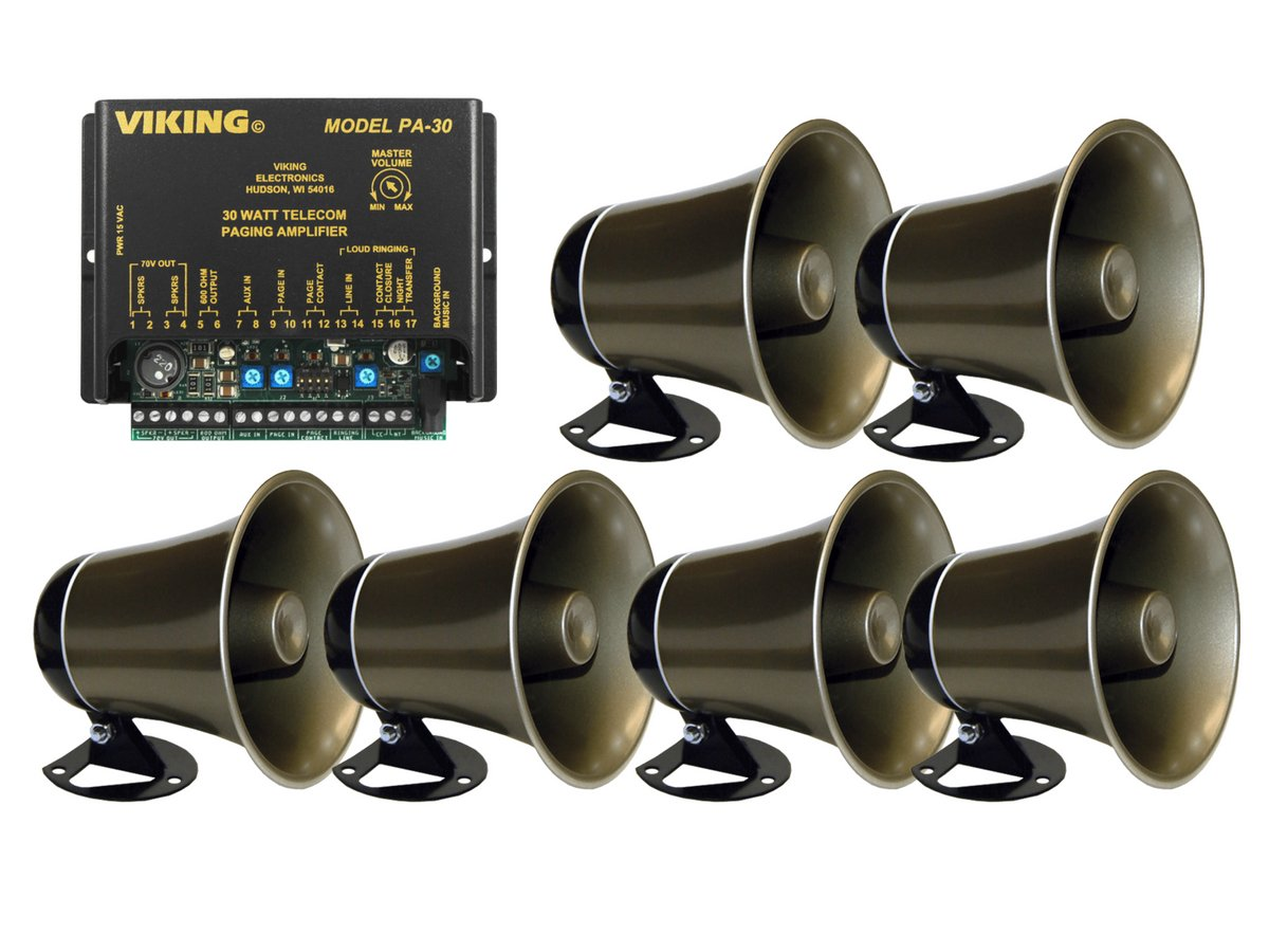 Viking 30 Watt Paging Amplifier with Loud Ringing and 6 Powered Speaker