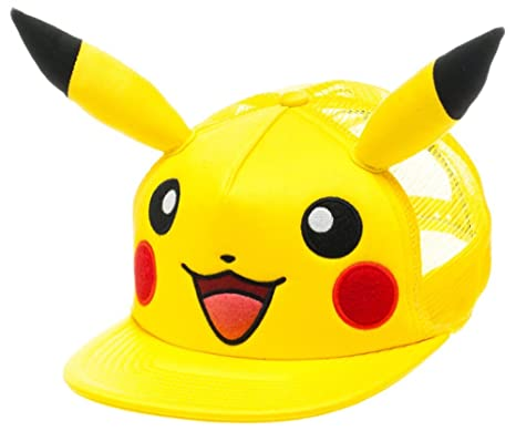 bioworld Pokemon Pikachu Big Face with Ears Yellow Trucker Men s Hat   Amazon.in  Clothing   Accessories 9c2f23aae03