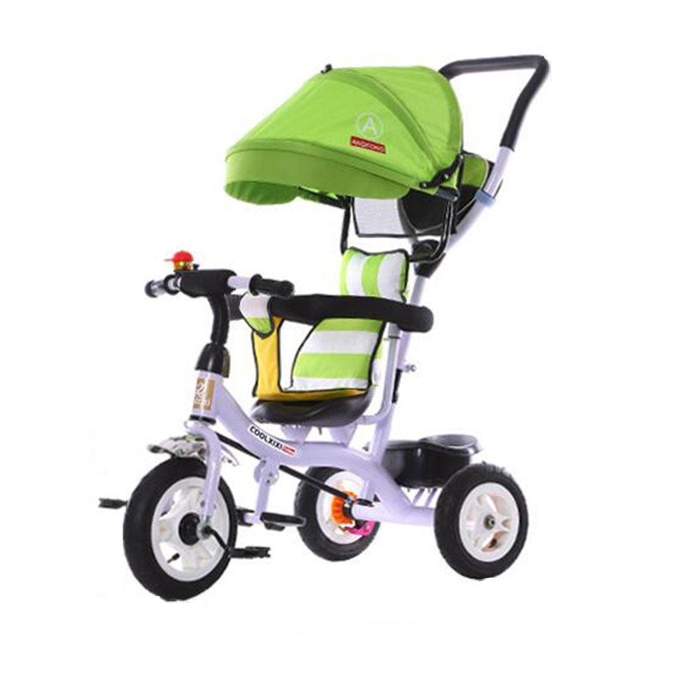 XQ 子供 三輪車 1-3-5歳 チタン製空車 赤ちゃん トロリー グリーン 子ども用自転車 B07CGGN9RJ