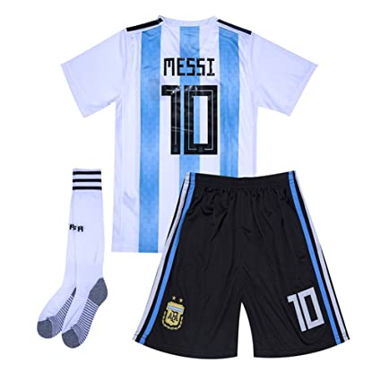 a0b5ee430 Image Unavailable. Image not available for. Color  cyllr  10 Messi 2018 World  Cup Argentina Home Youth Kids Soccer Jersey Matching Shorts