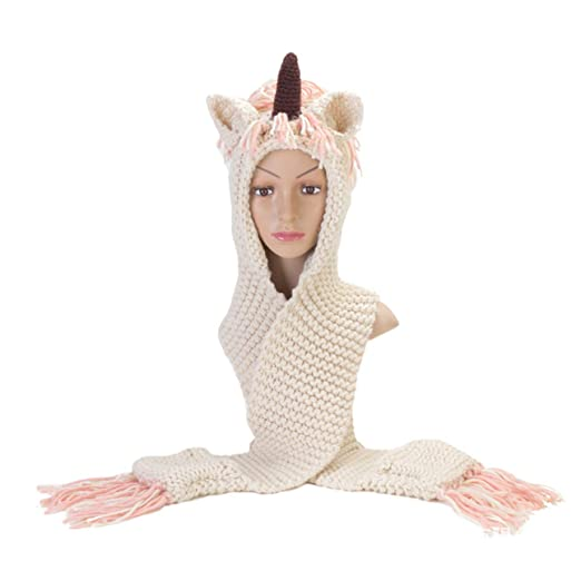 cc203f6564a5f Image Unavailable. Image not available for. Color  WHZZ Kids Crochet  Cartoon Unicorn Winter Hat with Scarf Pocket Hooded Knitting Beanie Cosplay  Photography