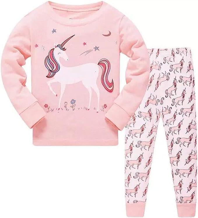Pijama de unicornio para niñas pequeñas, manga larga, 100% algodón, color rosa, talla 2-8 años Rosa rosa 7 años: Amazon.es: Ropa y accesorios