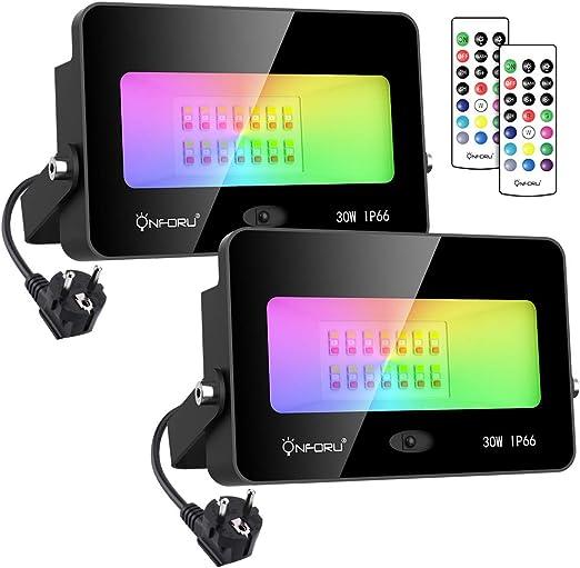 Onforu 30W Foco RGB Led (2 Pack), Foco Colores con Control Remoto ...