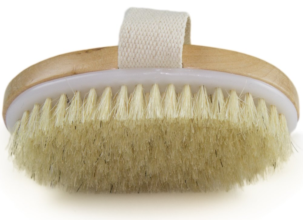 Dry Skin Body Brush - Improves Skin's Health And Beauty - Natural Bristle - Remove Dead Skin And Toxins, Cellulite Treatment, Improves Lymphatic Functions, Exfoliates, Stimulates Blood Circulation Wholesome Beauty