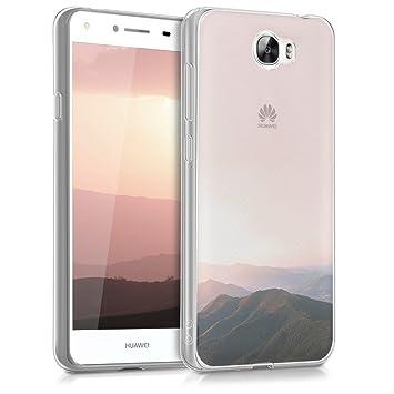 kwmobile Funda para Huawei Y6 II Compact (2016) - Carcasa de [TPU] para móvil y diseño del Amanecer en [Rosa Palo/Negro/Transparente]