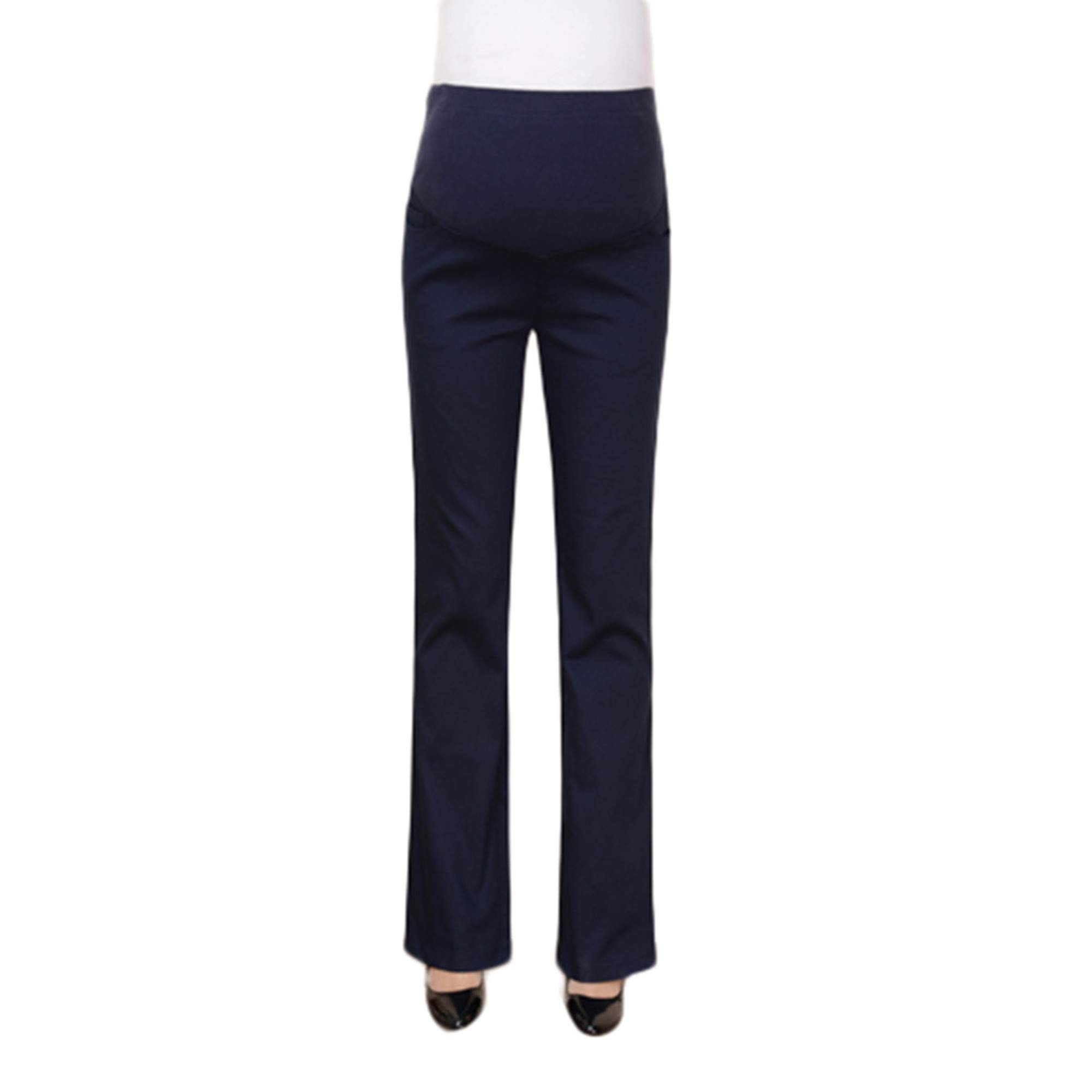 Huifa Maternity Comfort High Waist Trousers Pregnant Casual Prop Belly Leggings (Navy,M)