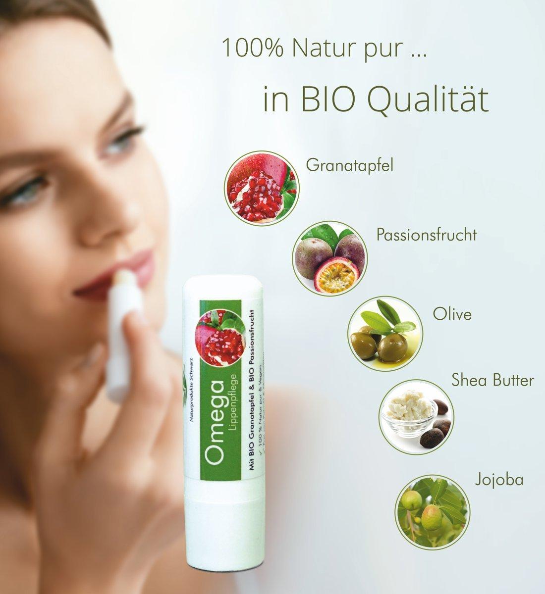 a950b9674466ee Naturprodukte Schwarz - Omega Lippenpflege mit BIO Granatapfel   BIO  Passionsfrucht - Vegan