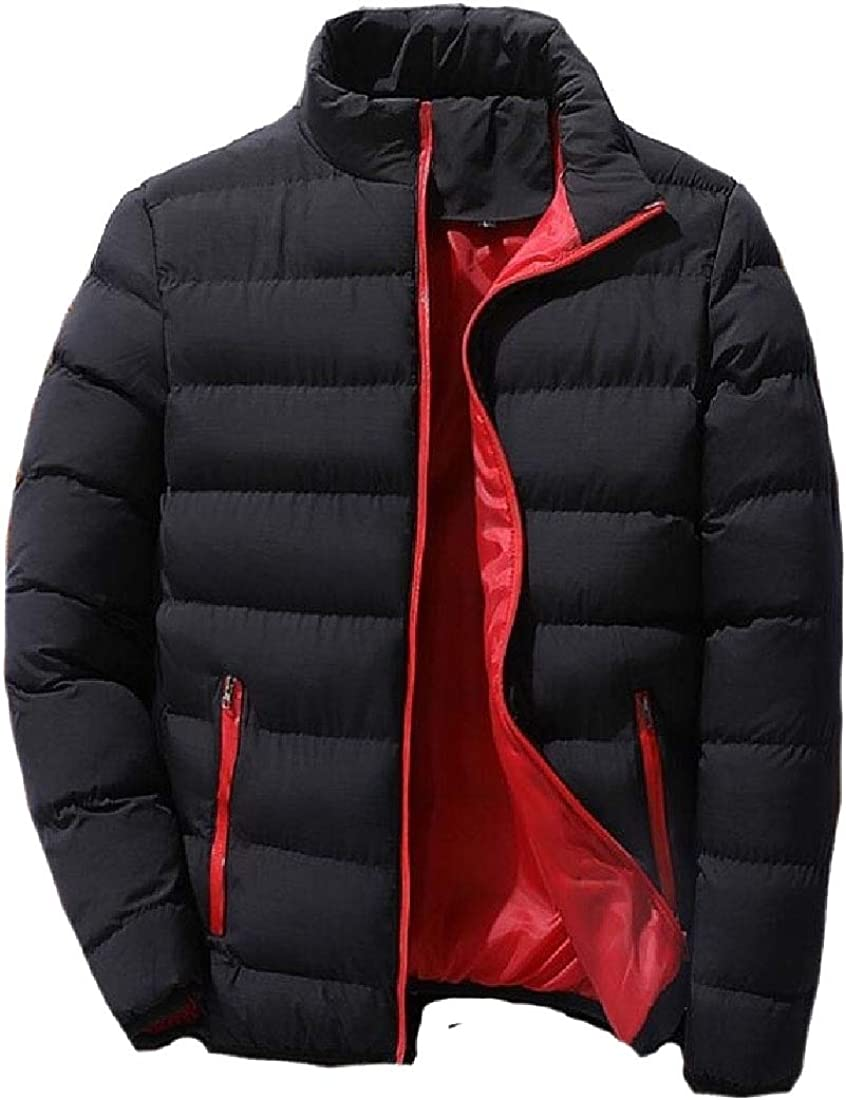 XQS Mens Winter Coat with Zipper Casual Multi Pocket Down Jacket
