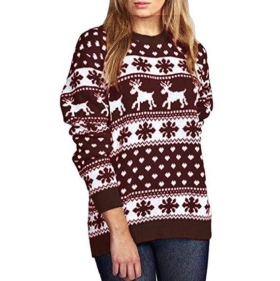 Mujeres Señoras Navidad Reno Copo de Nieve Novedad De Punto Unisexo Fairisle Navidad Saltador Suéter Parte