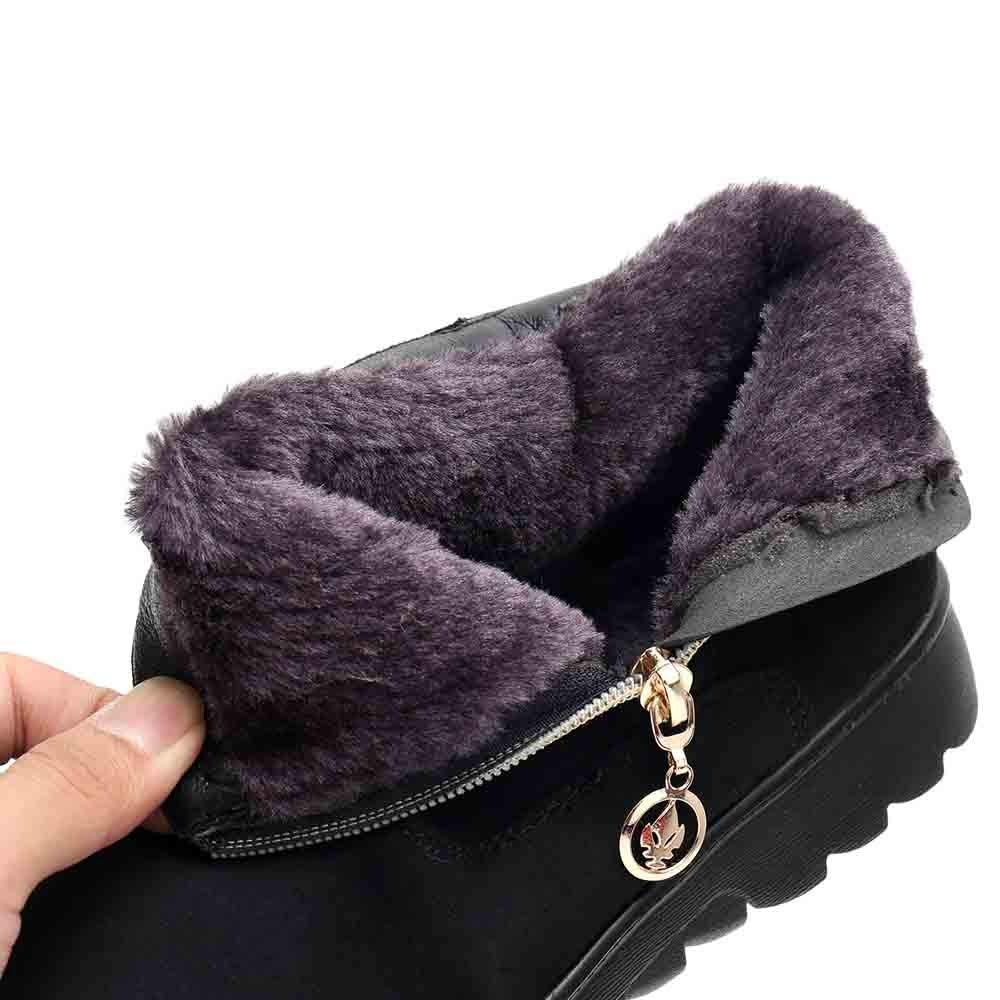 GoodLock Hot Women Fashion Snow Boots Winter Female Casual Ankle Boots Warm Shoes Middle-Aged Boots