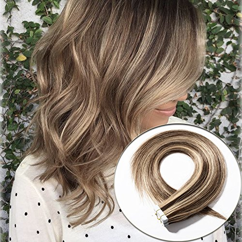 18 inch Rooted Tape in Hair Extensions 100% Human Hair Brown Blonde Straight Remy Hair Skin Weft Seamless 20pcs/50g+10pcs Double Sided Tapes (Two Tones, Medium Brown mixed Dark Blonde)