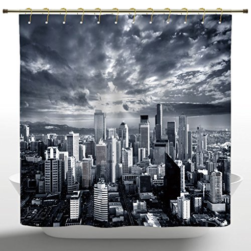 Waterproof Shower Curtain by iPrint,Wanderlust Decor Collection,Seattle Cityscape Business Buildings Skylines Dark Clouds Sunset Artistic Image Print,Dark Gray,Polyester Fabric Bathroom Curtain ()