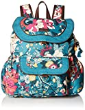 Sakroots Flap Backpack, Teal Flower Power , One Size