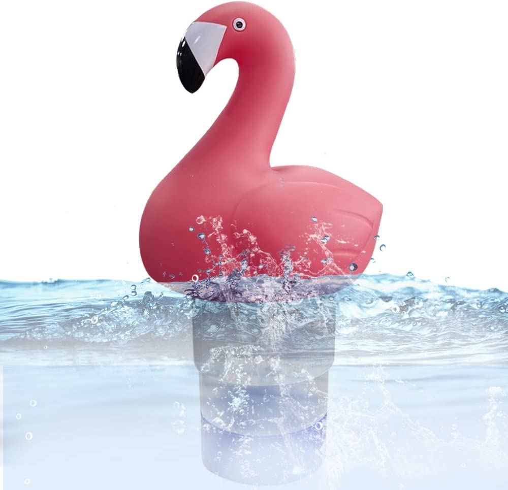 Blufree Chlorine Floater, Floating Chlorine Dispenser, Cute Animal Floating Pool Chlorinator Chlorine Basket for Chemical Tablets Fits 3 inch Tabs Bromine Holder Used for Pool Spa. (Flamingo)