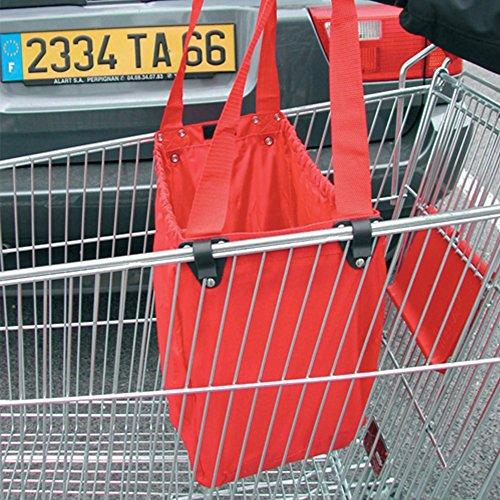 MSV 120016 - Borsa per spesa, appositamente creata per il carrello, in poliestere/polipropilene, 60 litri, colore rosso
