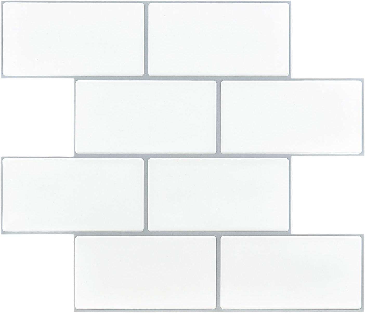 "Art3d 14""x12"" EVA Self-Adhesive Backsplash Tiles, Faux Ceramic Tiles, Matt (10 Tiles, Thicker Version)"