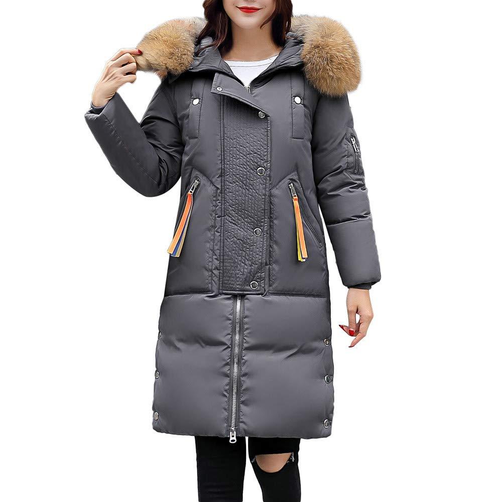 Fantaisiez Manteau Femmes Long à Capuche Col de Fourrure Veste Coton épais Hiver Chaud Manteaux Femme Décontractée Jacket Manche Longue Coat