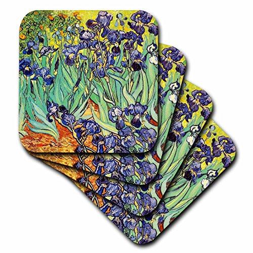 3dRose CST_155630_3 Irises by Vincent Van Gogh 1889-Purple Flowers Iris Garden-Ceramic Tile Coasters, Set of 4