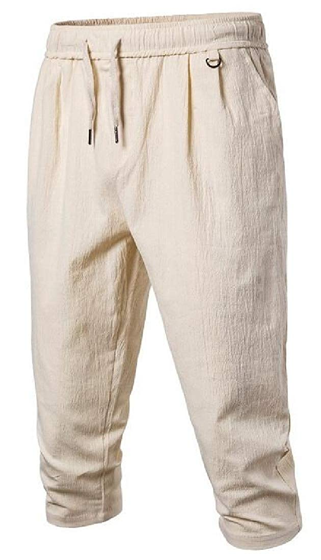 Jofemuho Men Casual Solid Cotton Linen Cropped Pants Beach Pants Trousers