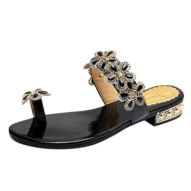 25b43f8e22c6af Lolittas Women Glitter Flip Flops Thong Sandal Flat Wedge ,Sparkly Jewelled  Studded Sequin Pretty Boho Summer Beach Toepost Slipper Shoes Rubber Black  ...