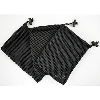 Amazon.com: Black Cell Phone Nylon Mesh Drawstring Pouch Bags 3 ...