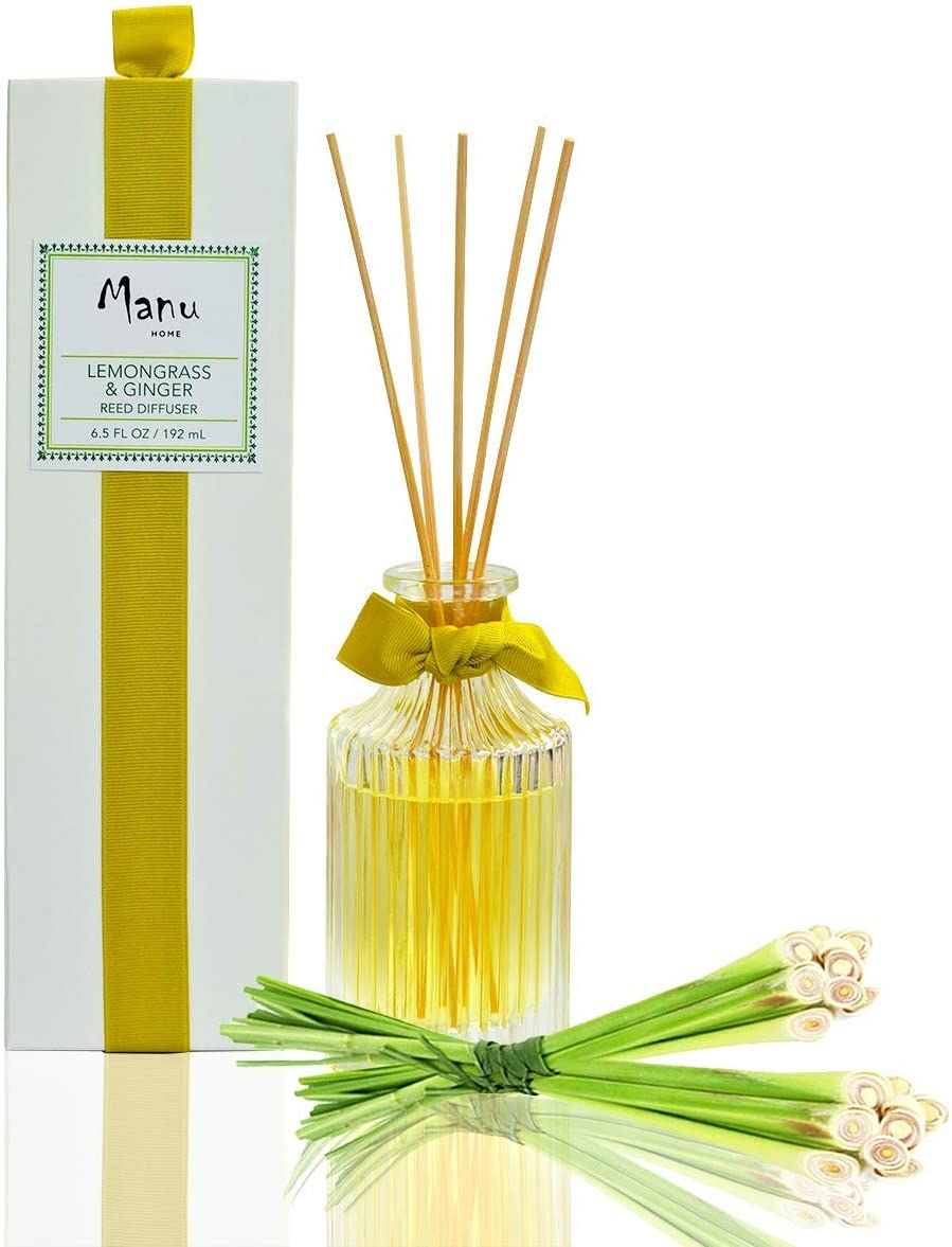 Manu Home Lemongrass & Ginger Reed Diffuser Gift Set | 6.5oz | Made with Aromatherapy Essential Oils | Soothing Scent housed in Beautiful Reusable Luxurious Bottle | Made in USA