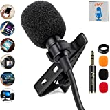PoP Voice 12.8 Feet Lavalier Lapel Microphone Professional Grade Omnidirectional Mic Condenser Small Mini Perfect for…
