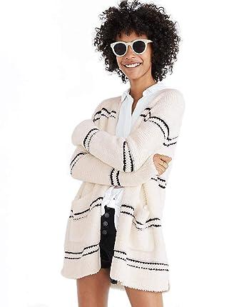 afd4b99d4 Madewell Women's Stripe Boucle Cardigan Oversized Sweater, XX-Small