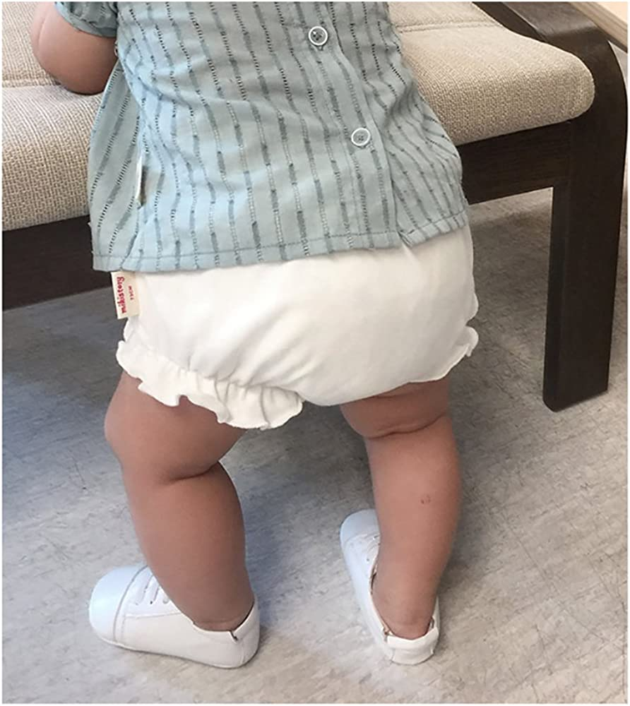 mikistory Baby Shorts Diaper Cover Infant Newborn Cloth Cover White 7-10Months